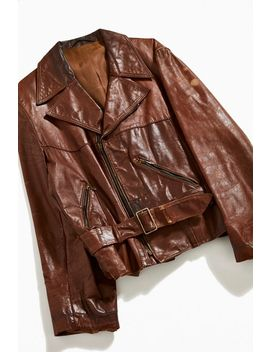 Vintage Caramel Leather Moto Jacket by Urban Outfitters Vintage