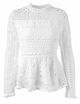 Sunjin Arco Women's Elegant Lace Tops Hollow Out Long Sleeve Peplum Hem Shirt Sheer Blouse by Sunjin Arco