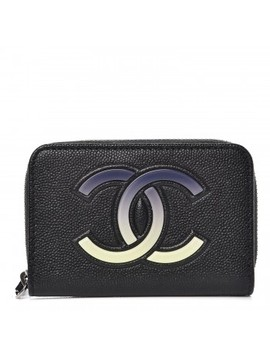 Chanel Caviar Cc Small Zip Around Coin Purse Black Blue Green by Chanel