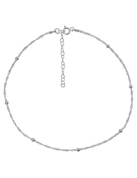 "Women's Diamond Cut Singapore Extender Necklace With Ball Stations In Sterling Silver   Silver (12"" + 4"") by Target"