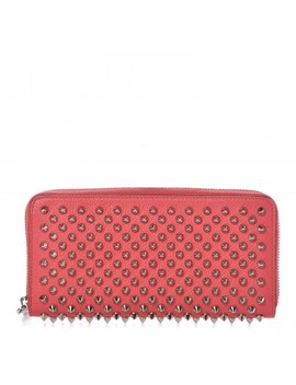 Christian Louboutin Calfskin Empire Panettone Spiked Zip Around Wallet Begonia by Christian Louboutin