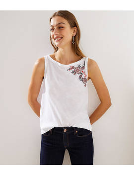 Rose Embroidered Vintage Soft Swing Tank by Loft
