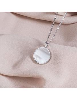 S.Leaf Minimalism Round Mother Of Pearl Necklace Sterling Silver Circle Disc Pendant Shell Pendant by S.Leaf