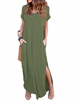 Women's Short Sleeve V Neck Pocket Casual Side Split Beach Long Maxi Dress by Arolina