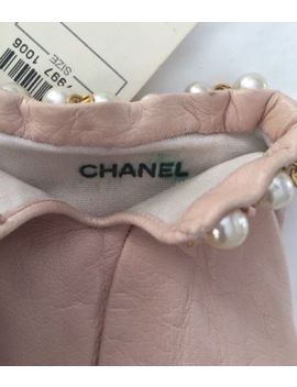 Vintage Chanel Nwt Pink Kid Gloves W Logo Silk Lining Trimmed With Pearls Sz 7.5 by Chanel