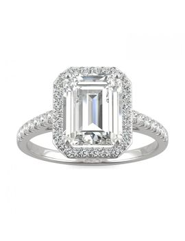Forever One 2.84 Ctw Emerald Colorless Moissanite Halo With Side Accents Engagement Ring In 14 K White Gold by Charles And Colvard