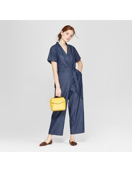 Women's Short Sleeve Collared Denim Jumpsuit   A New Day™ by A New Day