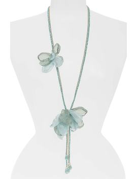 Chiffon Flower Lariat Necklace by Stella + Ruby