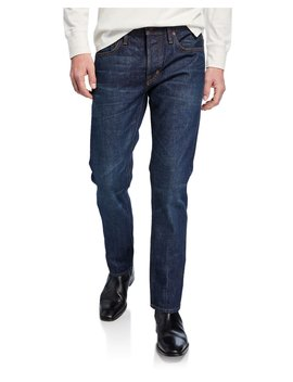 Men's Straight Fit Dark Wash Jeans by Tom Ford