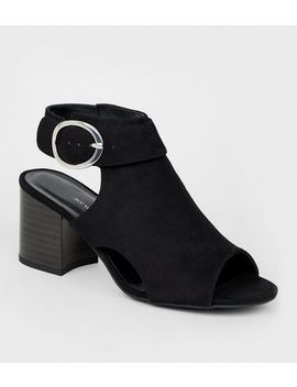 Girls Black Cut Out Peep Toe Slingbacks by New Look