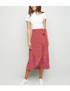 Red Ditsy Floral Wrap Midi Skirt by New Look