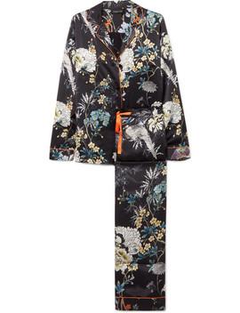 Floral Print Silk Satin Pajama Set by Meng
