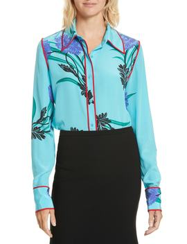 Floral Print Stretch Silk Shirt by Diane Von Furstenberg