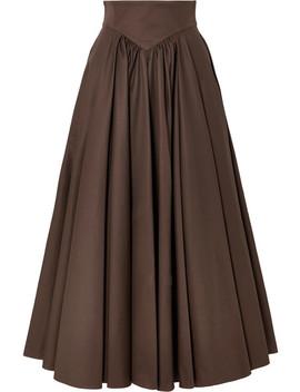 Pleated Cotton Gabardine Midi Skirt by Alaïa