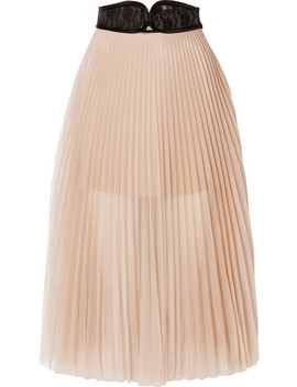 Lace Trimmed Pleated Chiffon Skirt by Christopher Kane