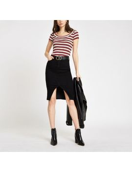 Red Stripe Scoop Neck T Shirt by River Island