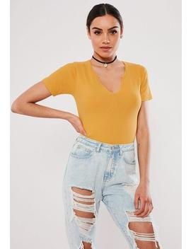 Yellow Notch Neck Ribbed Bodysuit by Missguided