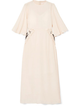 Appliquéd Crepe De Chine Midi Dress by See By Chloé