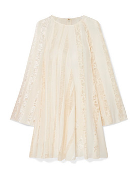 Lace Paneled Silk Chiffon Mini Dress by Chloé