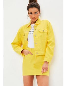 Yellow Denim Contrast Stitch Co Ord Skirt by Missguided