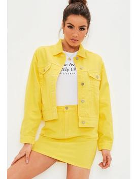 Yellow Denim Contrast Stitch Co Ord Jacket by Missguided