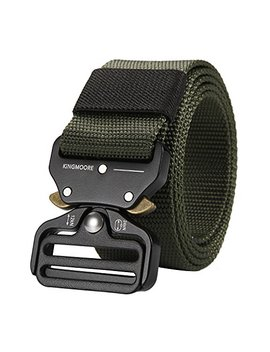 King Moore Men's Tactical Belt Heavy Duty Webbing Belt Adjustable Military Style Nylon Belts by King Moore