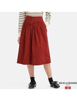 Women Ines Cotton Gathered Skirt by Uniqlo