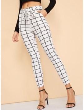 Tied Waist Grid Print Skinny Pants by Shein