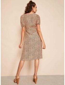 Tie Side Surplice Wrap Leopard Dress by Shein