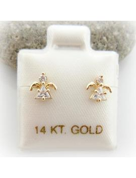 14 K Solid Yellow Gold Baby Little Girls Cubic Zirconia Baby Angel Screwback Earrings. Cz Birthstone Earrings. Birthday Gift by Etsy