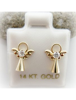 14 K Solid Yellow Gold Baby Little Girls Cubic Zirconia Baby Angel Screwback Earrings. Gold Angel Earrings. Birthday Gift by Etsy