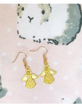 Pretty Angel With Wings Gold Earrings    You Are Love Of My Life!! by Etsy
