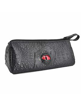 Czyy Pencil Case Black Faux Leather With 3 D Dragon Eye And Name Tag Large Zipper Pen Pouch For School, Office & Art by Czyy