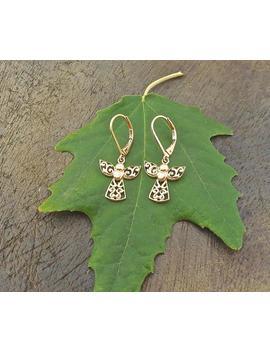 Dangle Gold Earrings, Angel Earrings, Bohemian Jewelry, Gold Drop Earrings, Angel Jewelry, Unique Gifts For Women, Gold Plated Earrings by Etsy