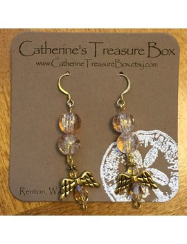 Angel Charm With Champagne Crackle Glass Dangle Earrings by Etsy