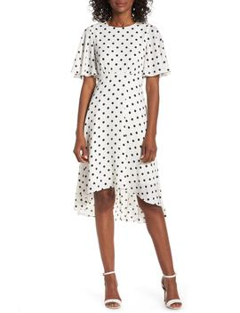 Dot High/Low Fit & Flare Dress by Eliza J