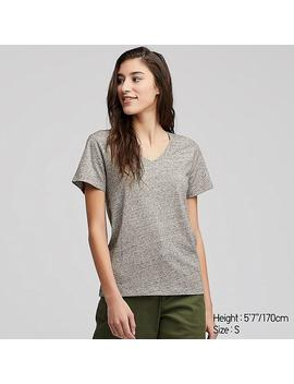Women Supima Cotton V Neck Short Sleeved T Shirt by Uniqlo