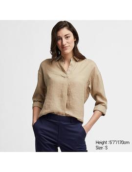 Women Premium Linen Skipper Collar Long Sleeved Shirt by Uniqlo