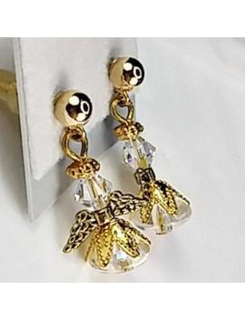 Tiny Gold Or S Ilver Swarovski Crystal Christmas Angel  Earrings, Stocking Stuffer Gift, Secret Santa, Sister, Daughter, Granddaughter, Gift by Etsy