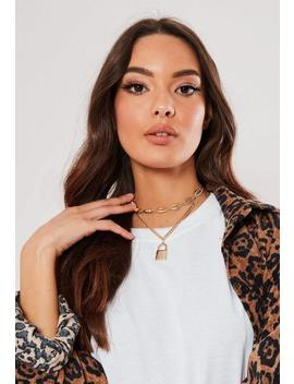 Gold Look Shell Padlock Choker Necklace by Missguided