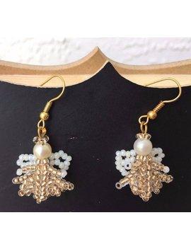 Czech Seed Bead Earrings Beaded Jewelry Beadwork Women Accessory Beaded Dangle Earrings Gold White  Angel Jewelry Christmas Earrings by Etsy