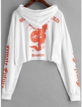 Raw Hem Dragon Graphic Hoodie   White M by Zaful