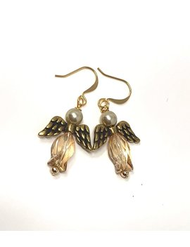 Golden Swarovski Christmas Angel Earrings Gold Angel Jewelry For Her Under 25 by Etsy