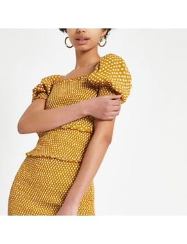 Yellow Spot Shirred Crop Top by River Island