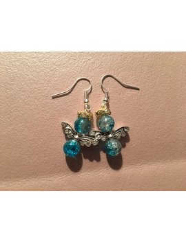 Earrings, Dangle, Blue Angel With Silver Wings And Gold Rhinestone Halo On Sterling Silver Hooks. by Etsy
