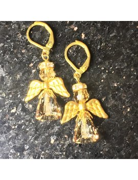 Christmas Angel Earrings, Handmade With Gold Color Swarovsk Crystal, Gold Color Wings. by Etsy