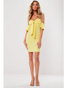 Lemon Bardot Knot Front Bodycon Mini Dress by Missguided