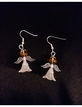 Set Of Amber Gold Guardian Angel Earrings  Angel Charm Earring Drop Dangle Jewelry French Hook Style Ear Wires Golden by Etsy