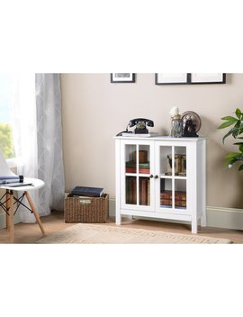Os Home And Office White Glass Door Accent And Display Cabinet by Generic