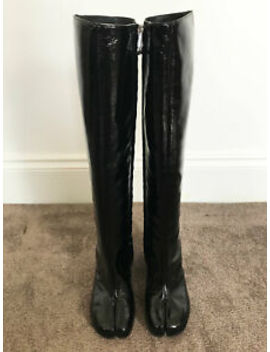 Maison Martin Margiela Black Patent Leather Tabi Split High Boots Us5/Eur35/Uk2 by Maison Martin Margiela